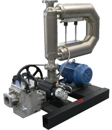 image of complete  skid assembly with a Micro Motion® meter, 600R pump and motor